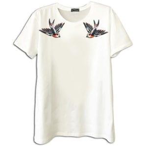 14u χειροποίητη μπλούζα κεντημένη Swarovski για άντρες και γυναίκες unisex t-shirt διαχρονικό πουλιά τατουάζ ναυτικοί