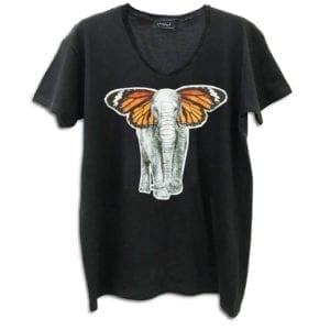 14u Clothes Accessories man black woman unisex handmade classic neck t-shirt black white swarovski stamp black print logo greek brand product elephant butterfly