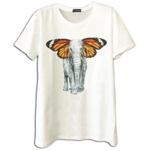 14u Clothes Accessories man woman unisex handmade classic neck t-shirt black white swarovski stamp black print logo greek brand product elephant butterfly