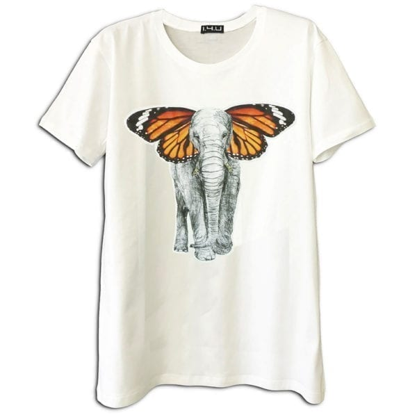 14u ρούχα αξεσουάρ μπλούζα ανδρικό γυναικείο unisex t shirt κεντημένο κρυσταλα swarovski πολυτελείας στάμπα ελέφαντας πεταλούδα λογότυπο