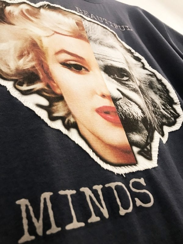 14u δημοφιλής χειροποίητη μπλούζα t-shirt για άντρες και γυναίκες albert einstein marilyn monroe όμορφα μυαλά