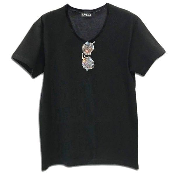 14u ρούχα αξεσουάρ μπλούζα ανδρικό γυναικείο unisex t shirt γυαλία πιλότου κεντημένο κρυσταλα swarovski πολυτελείας ray ban