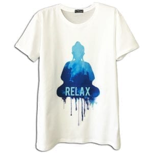 14u clothes accessories tshirt white print relax buddha art