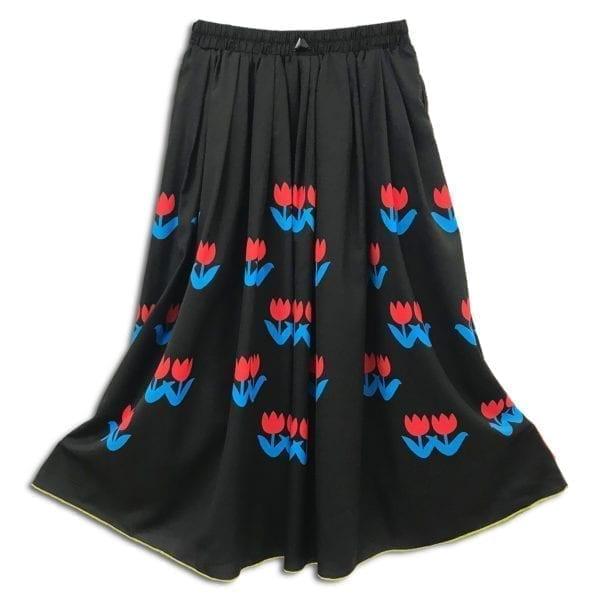 CVD.010 14u ρούχα αξεσουάρ χαρούμενη φούστα γυναικεία γυναίκα χειροποίητη μαύρη άνοιξη καλοκαίρι τουλίπες