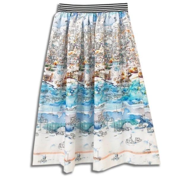 283.01a 14u clothes accessories handmade skirt print summer greece islands blue port