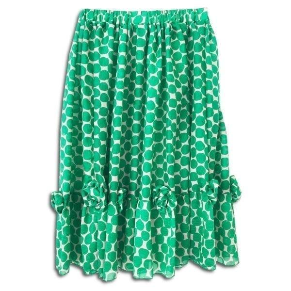 283.02 14u ρούχα αξεσουάρ χαρούμενη φούστα γυναικεία γυναίκα χειροποίητη πουά μετάξι μεταξωτή πράσινη άνοιξη καλοκαίρι