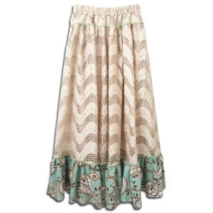 303.01 14u clothes accessories womans woman skirt handmade lace print ruffles sand beige (2)