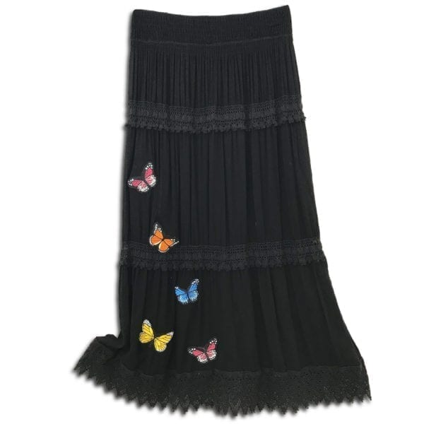 303.02 14u clothes accessories womans woman skirt handmade lace ruffles white black butterflies butterfly cotton 1