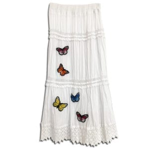 303.02 14u clothes accessories womans woman skirt handmade lace ruffles white black butterflies butterfly cotton