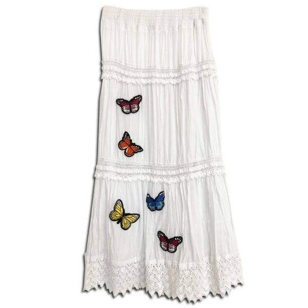 303.02 14u ρούχα αξεσουάρ χαρούμενη φούστα γυναικεία γυναίκα χειροποίητη άνοιξη καλοκαίρι λευκό μαύρο πεταλούδες