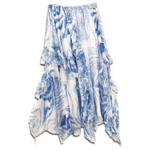 CRG.179 14u clothes accessories womans woman skirt handmade print blue summer greece