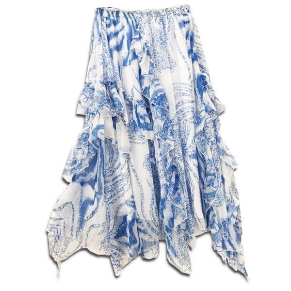 CRG.179 14u ρούχα αξεσουάρ χαρούμενη φούστα γυναικεία γυναίκα χειροποίητη άνοιξη καλοκαίρι εμπλριμέ μπλε