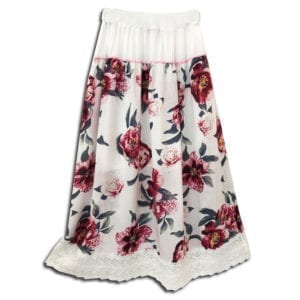 CRG.190H 14u ρούχα αξεσουάρ χαρούμενη φούστα γυναικεία γυναίκα χειροποίητη άνοιξη καλοκαίρι εμπλριμέ λουλούδια