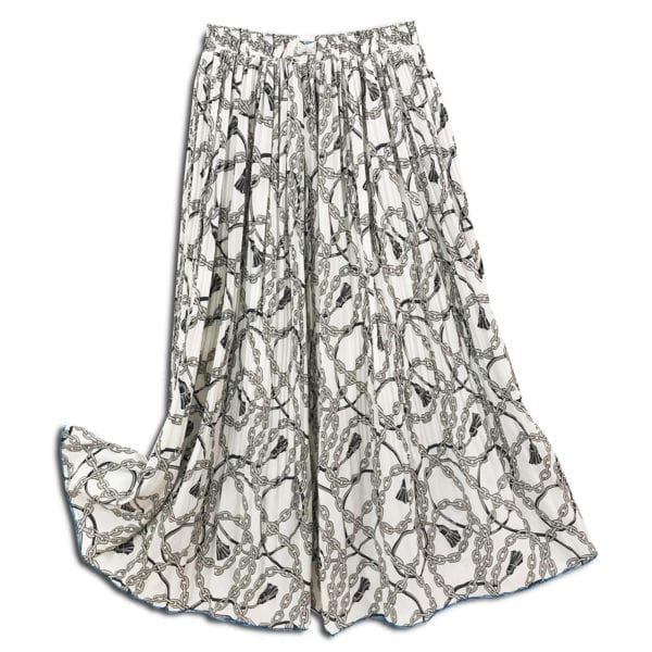 CVD.017 14u ρούχα αξεσουάρ χαρούμενη φούστα γυναικεία γυναίκα χειροποίητη πλισέ αλυσίδες λευκή άνοιξη καλοκαίρι