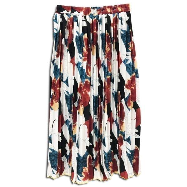 CVD.018 14u ρούχα αξεσουάρ χαρούμενη φούστα γυναικεία γυναίκα χειροποίητη πλισέ λευκή άνοιξη καλοκαίρι εμπριμε λουλούδια