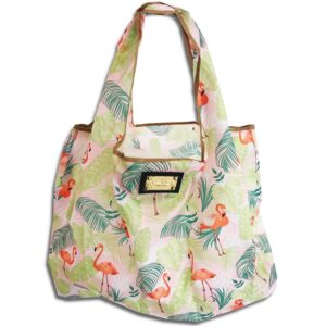 14u hellenic greek fashion brand clothes accessories Shopping bag Foldable Strong Eco Eco friendly Print Colorful Large Lightweight Smart Grocery Gym tropic tropical flamingo (2)