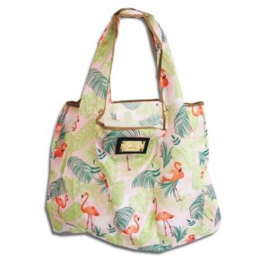 14u hellenic greek fashion brand clothes accessories Shopping bag Foldable Strong Eco Eco friendly Print Colorful Large Lightweight Smart Grocery Gym tropic tropical flamingo
