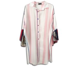 CRG.258  14U ελληνική εταιρεία ρούχων αξεσουαρ πουκαμίσα fashion ροζ λευκό ριγε άνοιξη καλοκαίρι θετική ενέργεια style γυναικείο γυναίκα υπέροχο όμορφο όλη μέρα νύχτα καθημερίνο αμπιγιέ designer κεντημένο στο χέρι χρησιμοποιώντας αυθεντικά κρύσταλλα Swarovski
