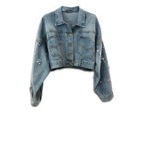 CVD.032 14u clothes accessories hellenic greek brand clothes accessories handmade denim jean jacket unique short swarovski crystals exclusive quality limited edition best product