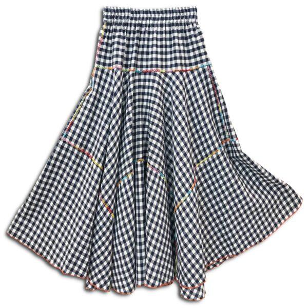 CVD.033 14u Ελληνική εταιρεία ρούχων και αξεσουάρ χειροποίητη καρώ βαμβακερή δροσερή πλούσια φούστα καλοκαιρινή κεντημένη μέυρη σκούρα μπλε