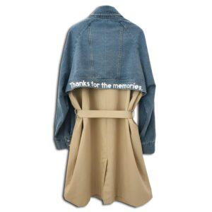 RLX.102B 14u clothes accessories hellenic greek brand cotton trench rain coat denim beige slogan street styling long overcoat oversized handmade fashion quality swarovski woman womans beautiful (2)