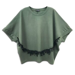 RLX.115 14u clothes accessories hellenic greek brand fashion spring summer good vibes style ladies beautiful awesome sequins fringes one size oversize formal informal top khaki olive classic soft loose fit