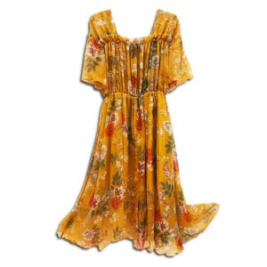 CRG.020 14u clothes accessories hellenic greek brand dress fashion handmade womans Paisley Print Georgette Dress Boho, Flowers Flower Floral Romantic, Bohemian, Seventies 70s, Limited Edition, One of a Kind