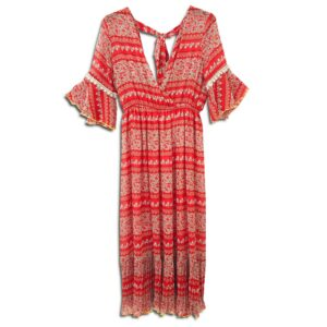 CRG.056 14u ελληνική εταιρεία ρούχων αξεσουαρ φόρεμα fashion ρομαντικό Εμπριμέ Φόρεμα vintage άνοιξη καλοκαίρι θετική ενεργεια style γυναικείο γυναίκα υπέροχο όμορφο όλη μέρα νύχτα καθημερίνο αμπιγιέ designer Κιντρινο κοκκινο