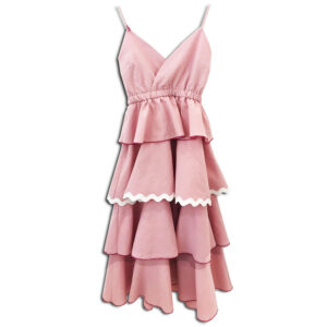 CRG.242 14u Hellenic Greek Brand Clothes Accessories womans cotton dress straped Limited Edition pink Dress Handmade With Swarovski crystals Exclusive Beautiful OAK Fashion Beautiful luxurius All day