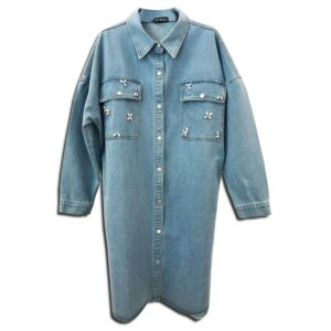 CVD.057 14u Clothes Accessories Denim Jean Long Limited Edition Printed Shirt Dress Handmade With Swarovski Crystals Exclusive Printed Beautiful OAK (2)