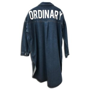 CVD.057 14u Ελληνική Εταιρεία Ρούχων και Αξεσουάρ τζιν μακρύ συλλεκτικό τυπωμένο κεντημένο με Swarovski πανωφόρι πουκαμίσα φόρεμα πολυτελές όμορφο λογότυπο