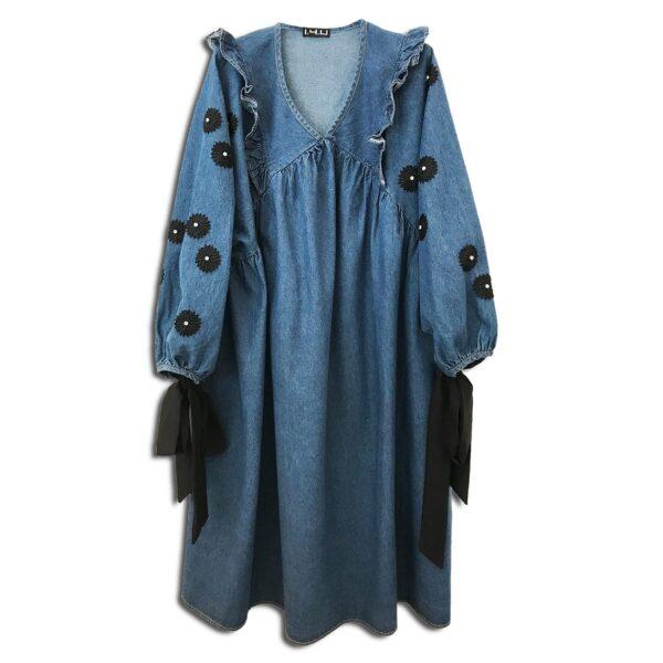 CVD.059 14u Ελληνική Εταιρεία Ρούχων και Αξεσουάρ τζιν μακρύ συλλεκτικό κεντημένο με Swarovski φόρεμα πολυτελές όμορφο μπλε τζίν