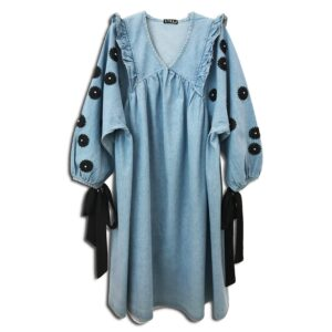 CVD.059 14u Clothes Accessories Denim Jean Long Limited Edition Dress Handmade With Swarovski Crystals Exclusive Beautiful OAK Fashion Flowers Beautiful luxurius All day Oversizes One Size (3)