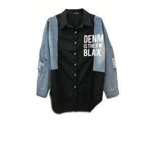 CVD.060 114U Ελληνική εταιρεία ρούχων και αξεσουάρ γυναικείο μισό μισό τζιν βαμβακερό μαύρο μπλε πουκάμισο συλλεκτικό κεντημένο στο χέρι με αυθεντικά κρύσταλλα Swarovski κουμπιά εκτύπωση στάμπα λευκή