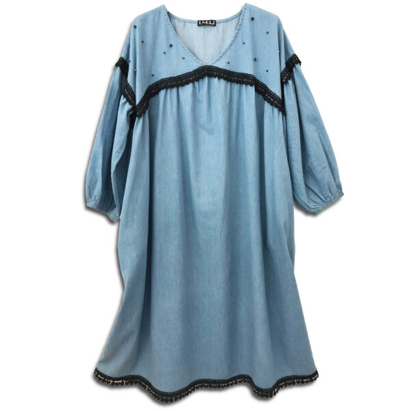 CVD.073  14u Ελληνική Εταιρεία Ρούχων και Αξεσουάρ τζιν μακρύ συλλεκτικό κεντημένο με Swarovski φόρεμα πολυτελές όμορφο μπλε τζίν