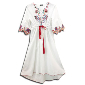 KLN.038A 14U Hellenic Greek Fashion Brand Clothes Accessories Woman White Boho Ethnic summer cool Cotton Dress Handmade With Swarovski Crystals comfortable