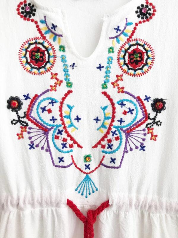 KLN.038A 14U ελληνική εταιρεία ρούχων αξεσουαρ γυναικείο βαμβακερό Λευκό φόρεμα Δροσερό μονόχρωμο λευκό καλοκαίρι καλοκαιρινό έθνικ μποέμ style γυναικείο γυναίκα υπέροχο όμορφο όλη μέρα καθημερίνο φόρεμα