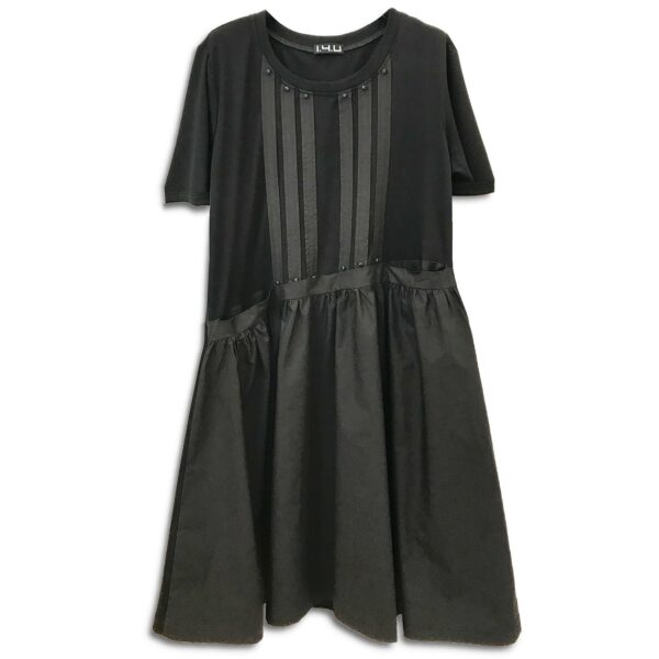 RLX.080 Ελληνική Εταιρεία Ρούχων Αξεσουάρ γυναικείο Μαύρο Χειροποίητο Πλισέ T-shirt Φόρεμα Κεντημένο με Κρύσταλλα Swarovski Ιδιαίτερο για όλες τις ώρες υπέροχο μοναδικό Άνετο φόρεμα