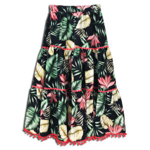 CVD.079 14u hellenic greek brand clothes accessories womans woman skirt handmade swarovski print flowers liberty tropic skirt exotic jungle colorful foul skirt beautiful
