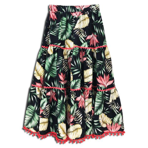 CVD.079 14u ρούχα αξεσουάρ τροπική εξωτική καλοκαιρινή πολύχρωμη χαρούμενη φούστα γυναικεία γυναίκα χειροποίητη άνοιξη καλοκαίρι εμπριμέ λουλούδια