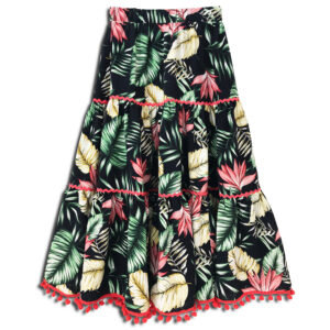CVD.079a 14u hellenic greek brand clothes accessories womans woman skirt handmade swarovski print flowers liberty tropic skirt exotic jungle colorful foul skirt beautiful