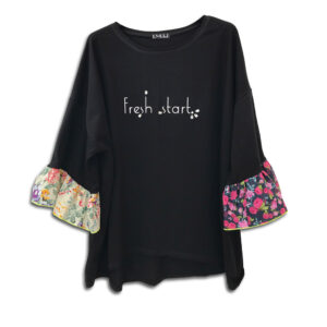1.4.U Hellenic Greek Fashion Brand Clothes Accessories Handmade Floral Print Top Blouse Flowers Sleeves black 01