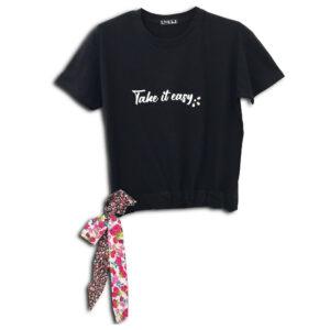 320.01 14U ελληνική εταιρεία ρούχων αξεσουαρ κοντό τοπάκι μπλούζα τοπ χειροποίητο fashion μονόχρωμο με εμπριμέ φλοράλ ζώνη άνοιξη καλοκαίρι