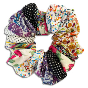 14U-Greek-fashion-Brand-Clothes-Accessories-Gifts-handmade-scrunchies-cotton-silk-modern-seventies-flowers multicolor
