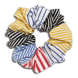 14U Ελληνική Εταιρεία Ρούχα Αξεσουάρ Δώρα Μεταξωτό Μεταλλικό Χειροποίητο Scrunchie ριγέ με ρίγες καρό