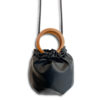 DST.L.855 14u Ελληνική Εταιρεία Ρούχα αξεσουάρ Τσάντες Μικρό Τσαντάκι Πουγκί με Ξύλινα χερούλια από Εξαιρετικής Ποιότητας Οικολογικό Δέρμα