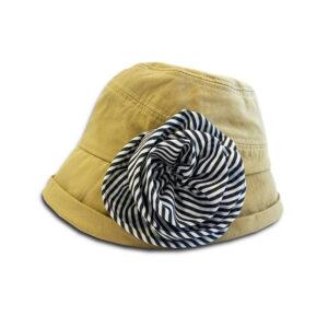 DST.H.04 ROSE 1.4.U Ελληνική Εταιρεία Ρούχων και Αξεσουάρ Βαμβακερό Bucket καπέλο με Χειροποίητο Λουλούδι.