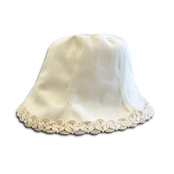 DST.H.05 CHANTILLY 1.4.U Ελληνική Εταιρεία Ρούχων και Αξεσουάρ Βαμβακερό Minimal Bucket Καπέλο με Δαντέλα
