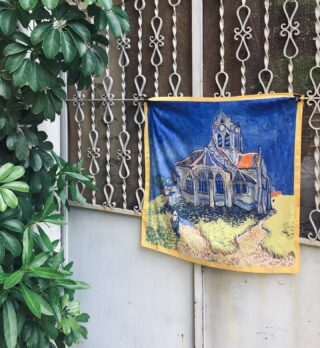 """""""How difficult it is to be simple."""" -Vincent Van Gogh  Church at Auvers Scarf. Find it at 1.4.U stores."""